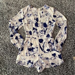 Charlotte Russe blue and white floral romper